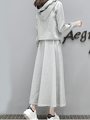 Hooded  Patch Pocket  Letters Two-Piece Maxi Dress