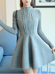 Crew Neck  Decorative Lace  Decorative Button  Plain Skater Dress