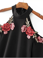 Sexy Open Shoulder Embroidery Patch Bodycon Dress