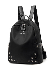 Fashion Rivet All-Match Print Drawstring Canvas Backpack