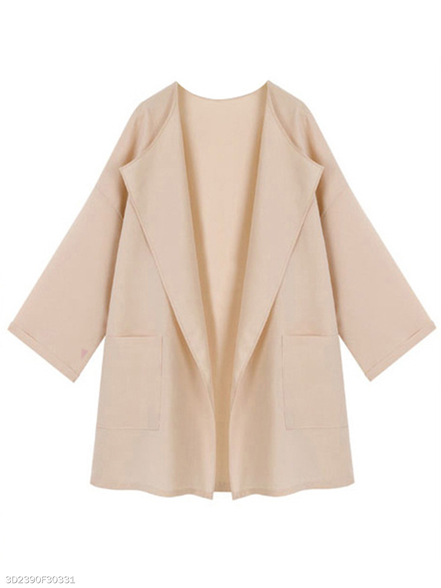 Collarless  Patch Pocket  Plain Trench Coat