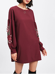 Round Neck  Applique Shift Dress