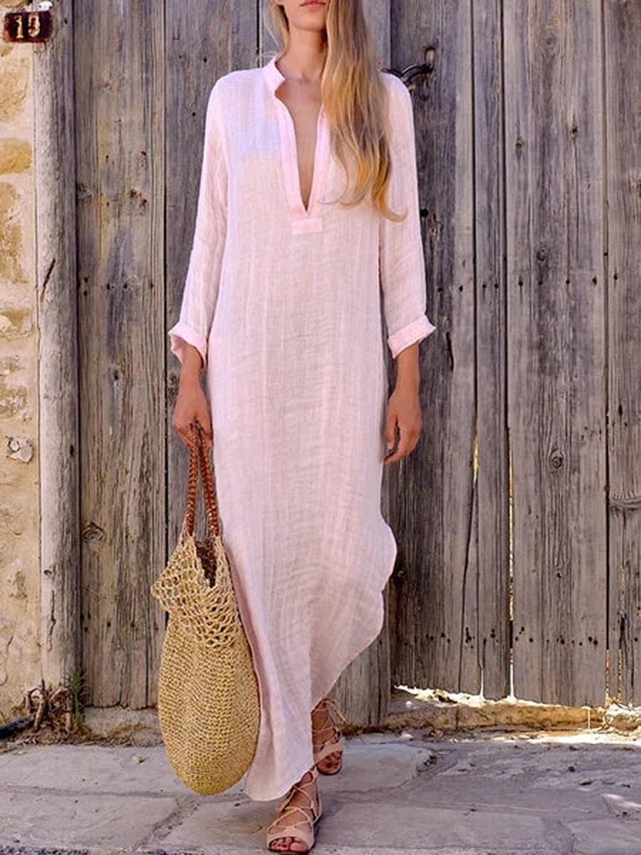 Split Neck  Plain Maxi Dress