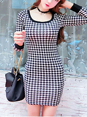 Round Neck Houndstooth Mini Bodycon Dress