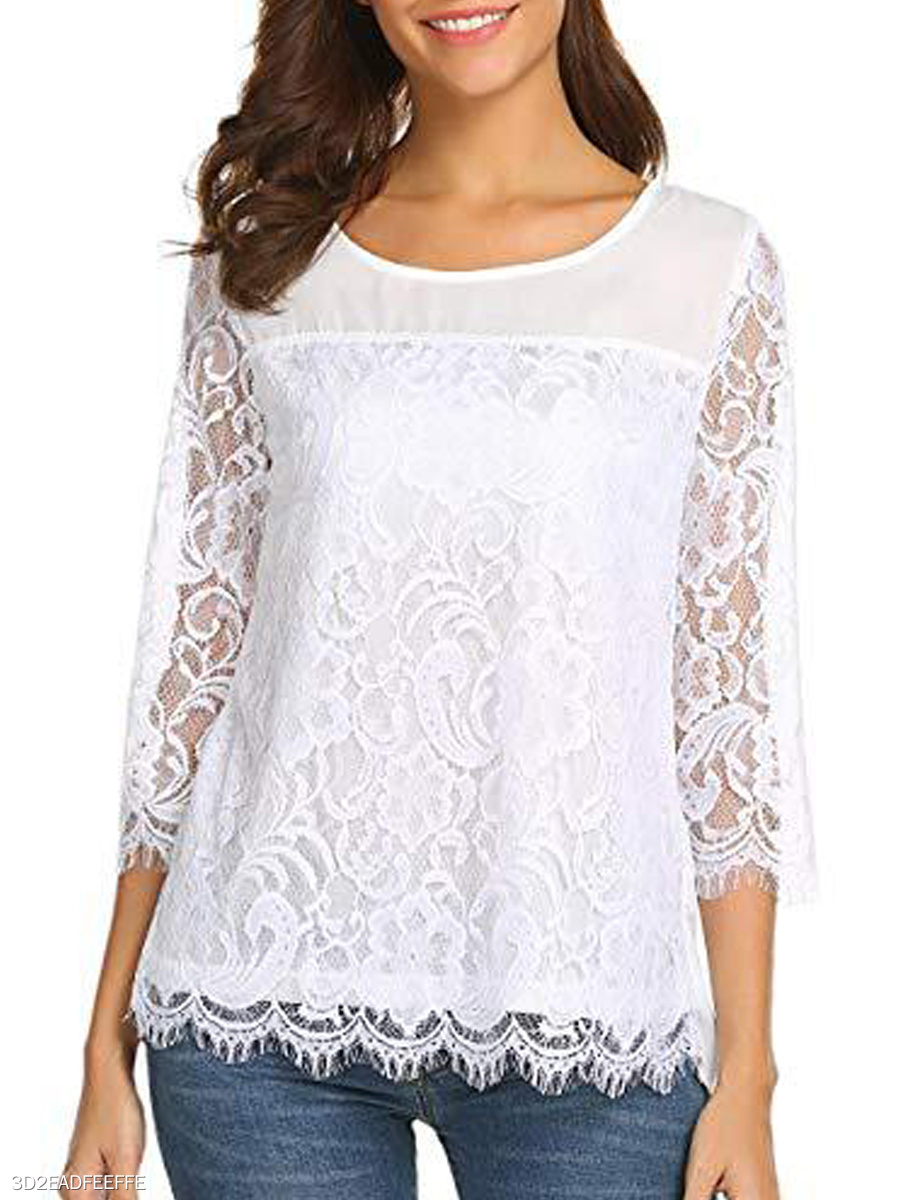 Autumn Spring Summer  Cotton Polyester  Women  Round Neck  Decorative Lace  Plain  Three-Quarter Sleeve Blouses