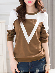 Round Neck  Color Block Sweatshirt