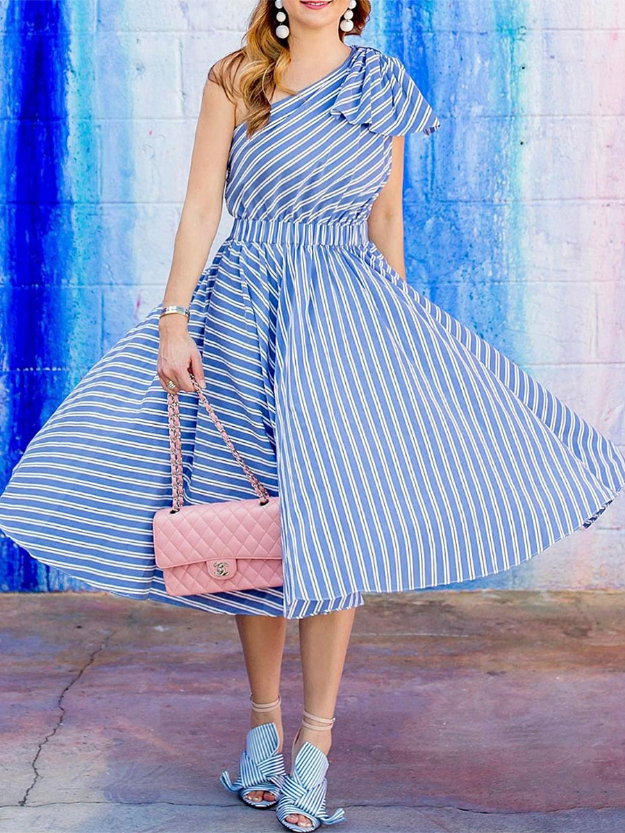 One Shoulder Bowknot Striped Skater Dress