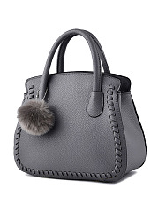 Fur Ball Plain Pu Handbag
