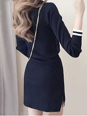 V-Neck Drawstring Striped Knitted Bodycon Dress