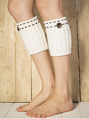 Contrast Stitching Thick Cotton Leg Warmers