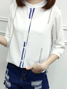 Autumn Spring  Cotton  Women  Single Breasted  Vertical Striped  Three-Quarter Sleeve Blouses