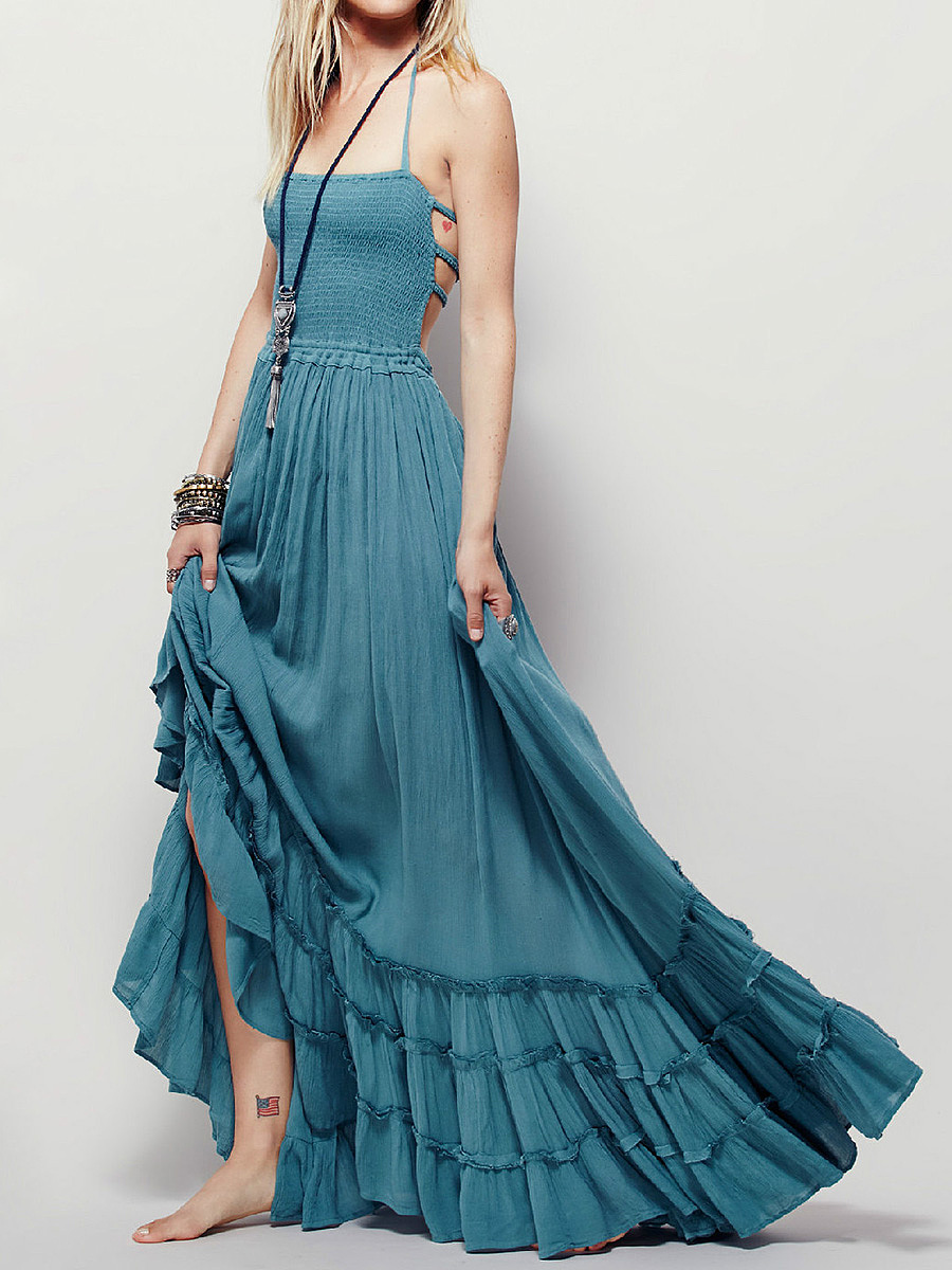 Spaghetti Strap  Drawstring Ruffled Hem  Smocked Bodice  Plain Maxi Dress