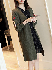 Embroidery Pocket Longline Puff Sleeve Cardigan