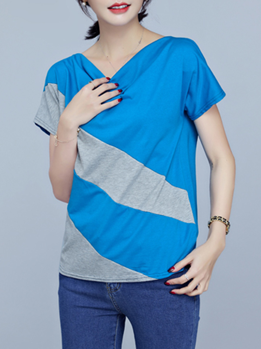 Cowl Neck Color Block Striped Short Sleeve T-Shirt