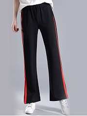 Color Block Slit Wide-Leg Casual Pants
