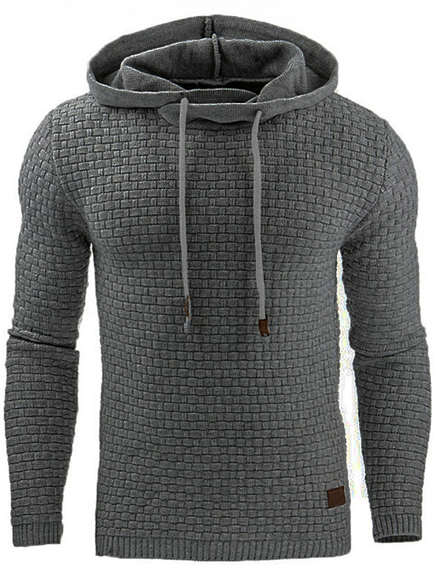 Solid Plaid Drawstring Men Hoodie