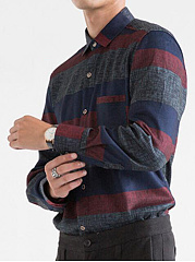 Striped-Men-Fleece-Lined-Patch-Pocket-Shirts