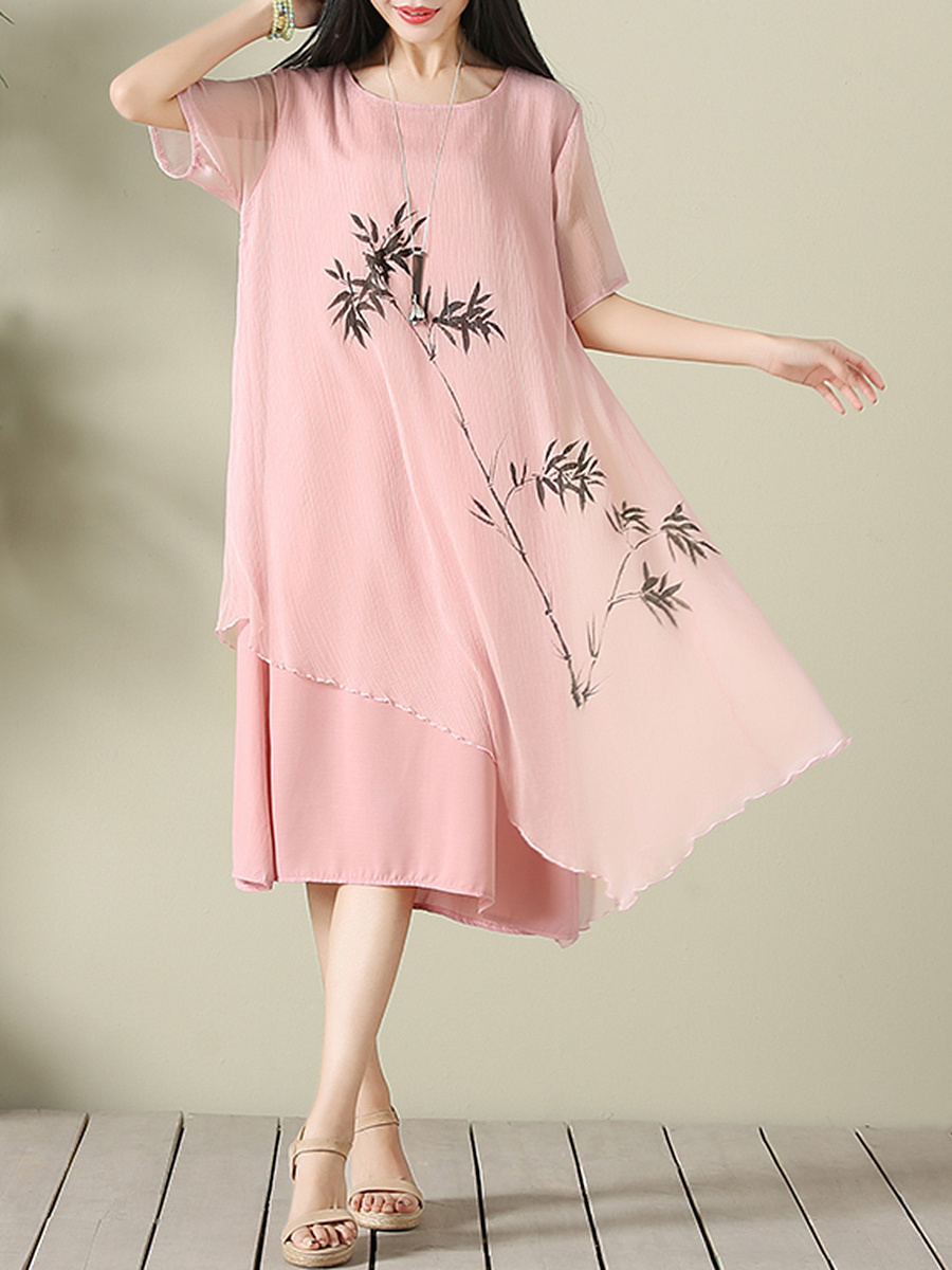 Round Neck Bamboo Printed Chiffon Shift Dress