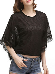Spring-Summer-Lace-Women-Round-Neck-Tassel-Plain-Batwing-Sleeve-Short-Sleeve-T-Shirts