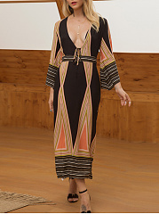 V-Neck  Tribal Printed Maxi Dress