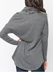 Cowl Neck  Curved Hem  Plain  Batwing Sleeve T-Shirt