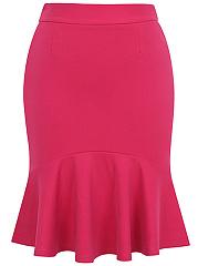 Basic-Solid-Mermaid-Midi-Skirt