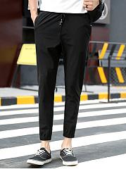 Drawstring-Plain-Mens-Casual-Slim-Leg-Pants