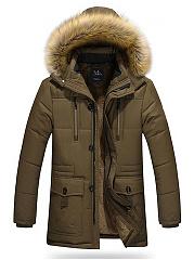 Hooded-Fleece-Lined-Flap-Pocket-Plain-Men-Coat