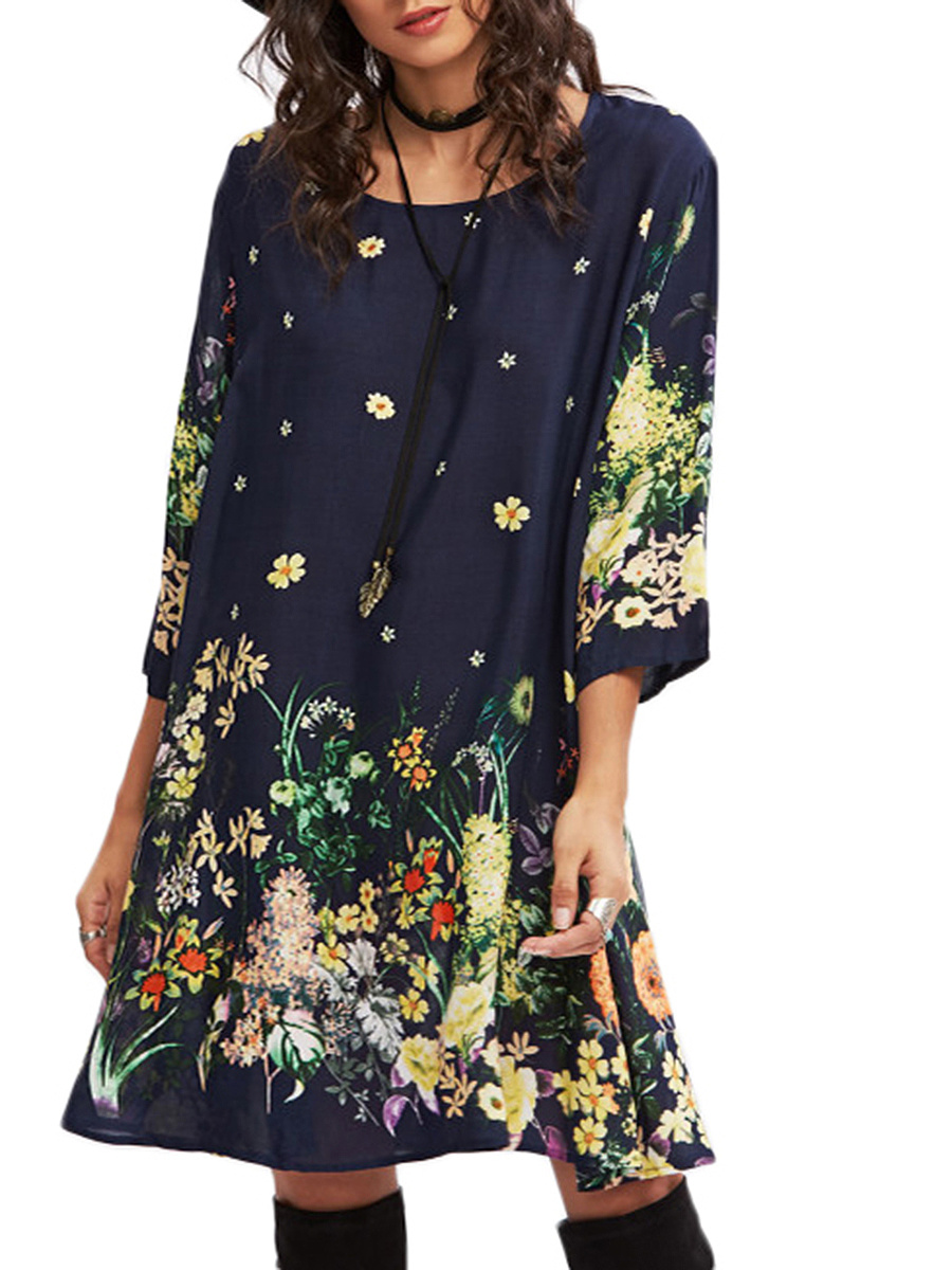 Charming Round Neck Floral Printed Shift Dress