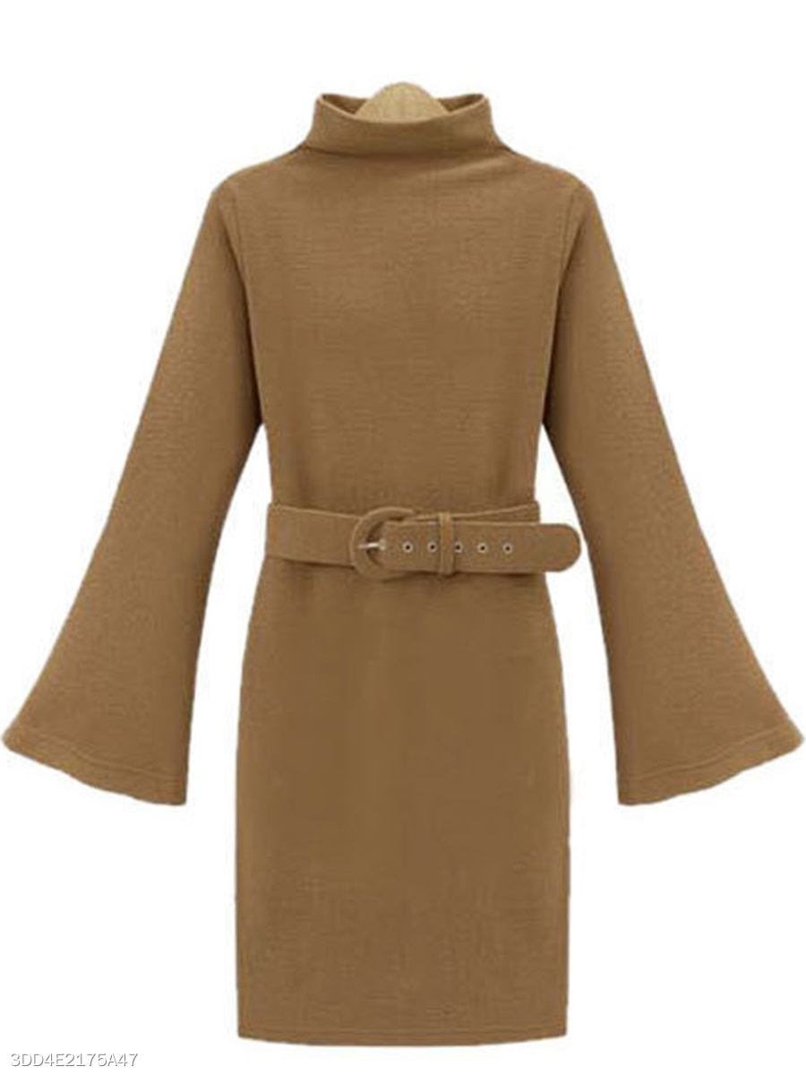 High Neck Belt Plain Bell Sleeve Knitted Bodycon Dress
