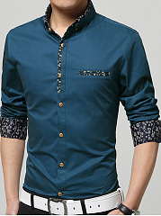 Polo-Collar-Patchwork-Printed-Men-Shirt