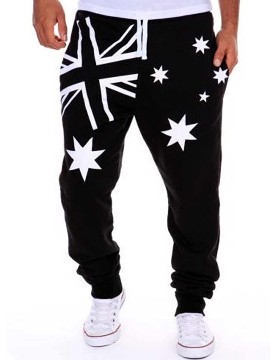 Drawstring Flag Printed Star Men's Casual Pant