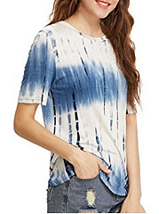 Summer  Polyester  Women  Round Neck  Abstract Print Short Sleeve T-Shirts