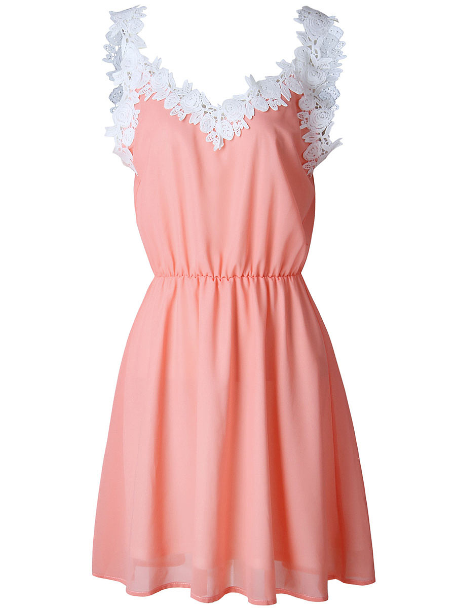 Contrast Decorative Lace Chiffon Skater Dress