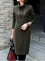 Turtleneck Plain Fleece Lined Bodycon Dress