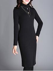 ... Turtleneck Plain Fleece Lined Bodycon Dress ...