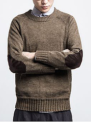 Crew-Neck-Plain-Decorative-Patch-Mene28099S-Sweater