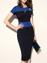 Round Neck  Color Block Colouring Bodycon Dress