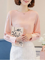 Autumn Spring  Polyester  Women  Round Neck  Hollow Out Plain  Long Sleeve Blouses
