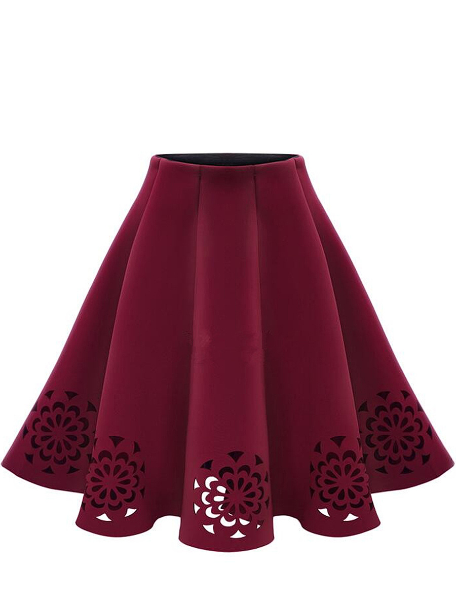 Hollow Out Plain  Flared Midi Skirt