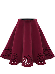 Hollow-Out-Plain-Flared-Midi-Skirt