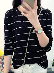 Round Neck  Stripes Long Sleeve T-Shirts