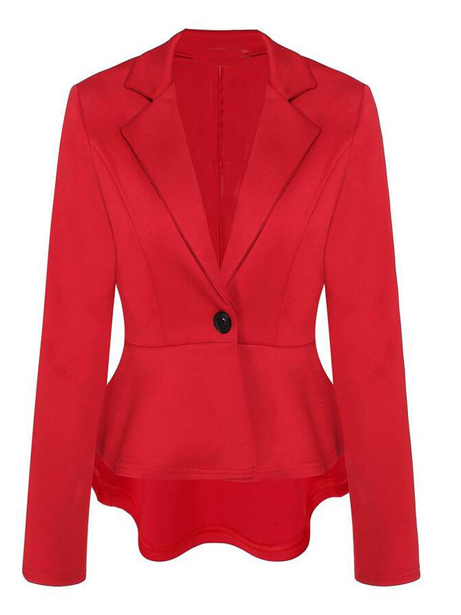 Peplum Solid Notch Lapel Single Button Blazer