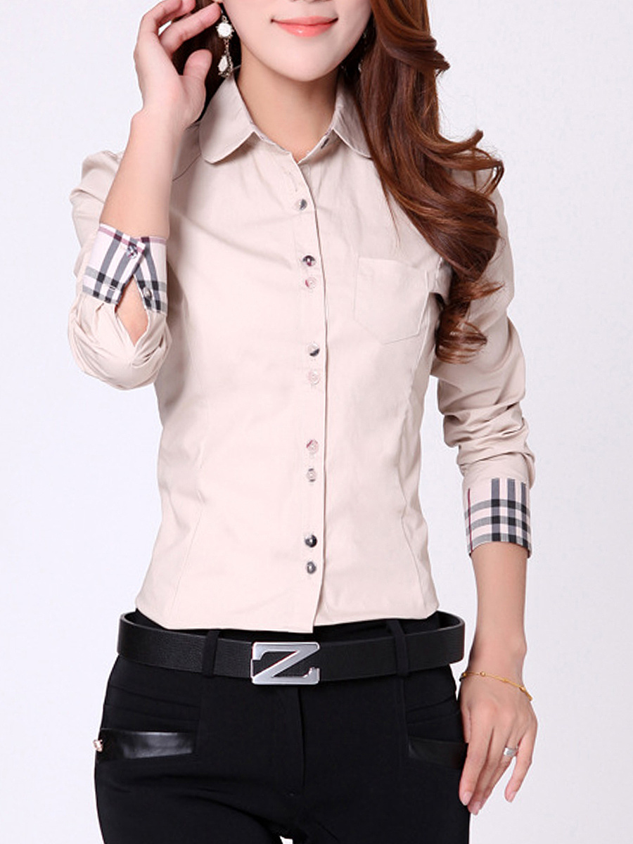 Turn Down Collar Blouse With Plaid Cuff