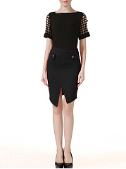Asymmetric-Hem-Decorative-Button-Pencil-Midi-Skirt