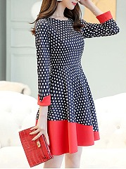 Round Neck Color Block Polka Dot Skater Dress