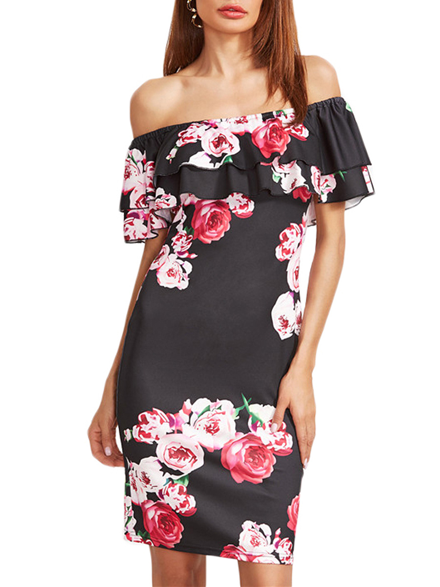 Off Shoulder Flounce Tiered Bodycon Dress In Floral Printed