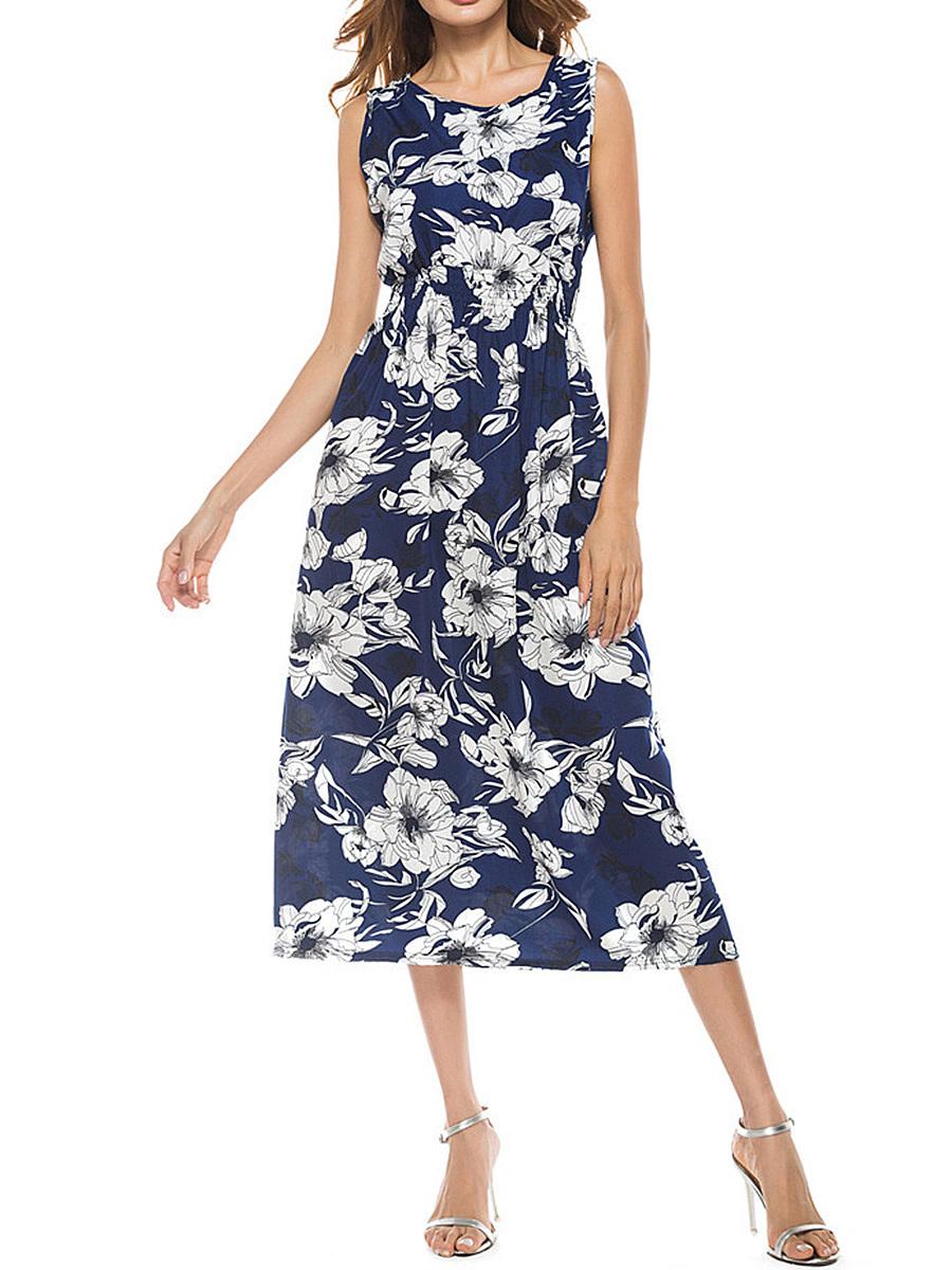 Round Neck  Elastic Waist  Printed Maxi Dress