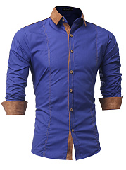 Contrast Suede Turn Down Collar Men Shirts