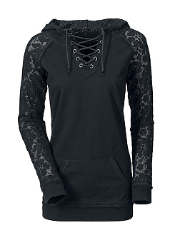 Hooded  Beading Decorative Lace Drawstring  Plain  Long Sleeve Hoodies